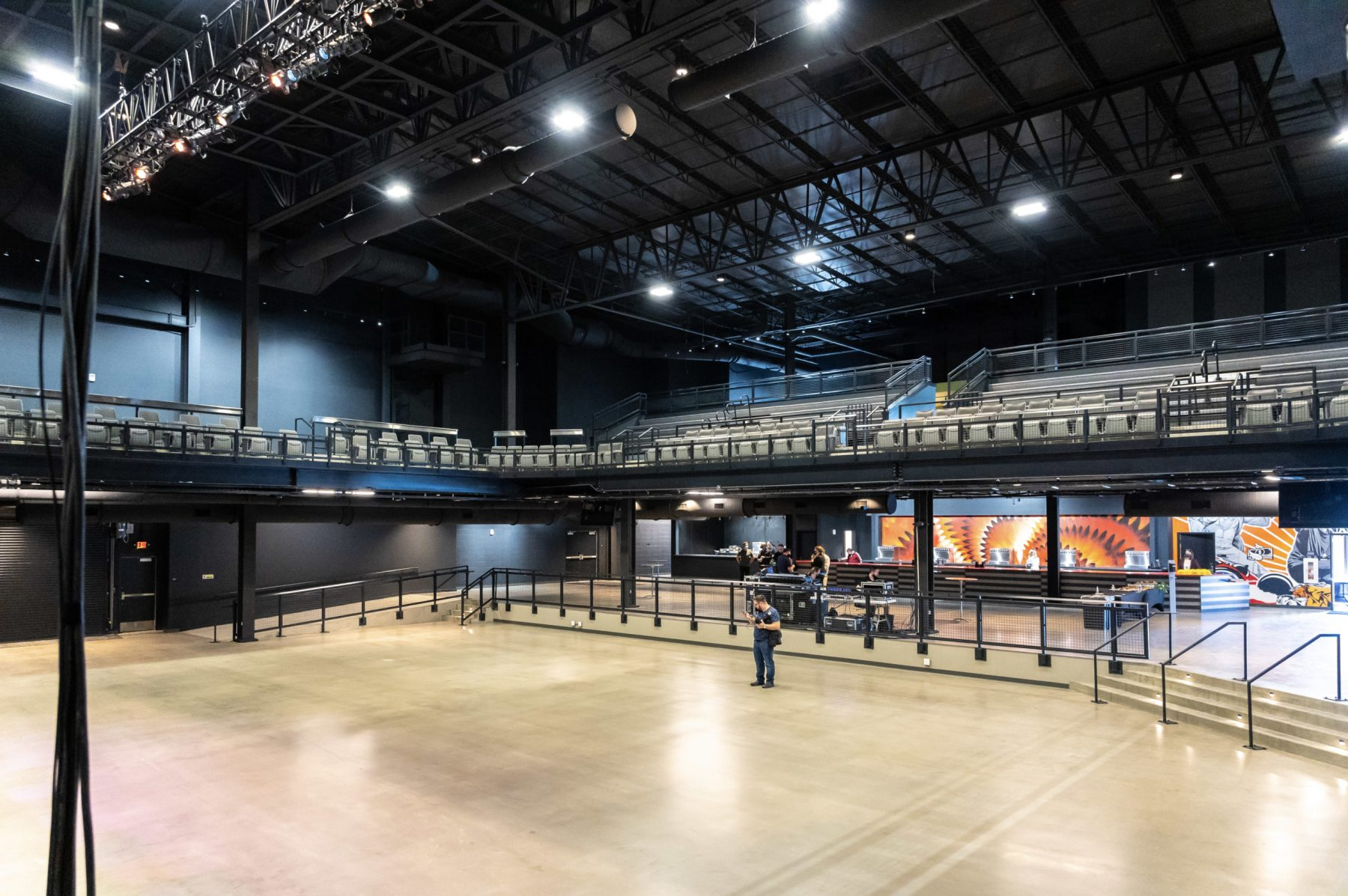 There are two levels of viewing inside the venue. The upper level features permanent seats. Photo by Phil Armstrong.
