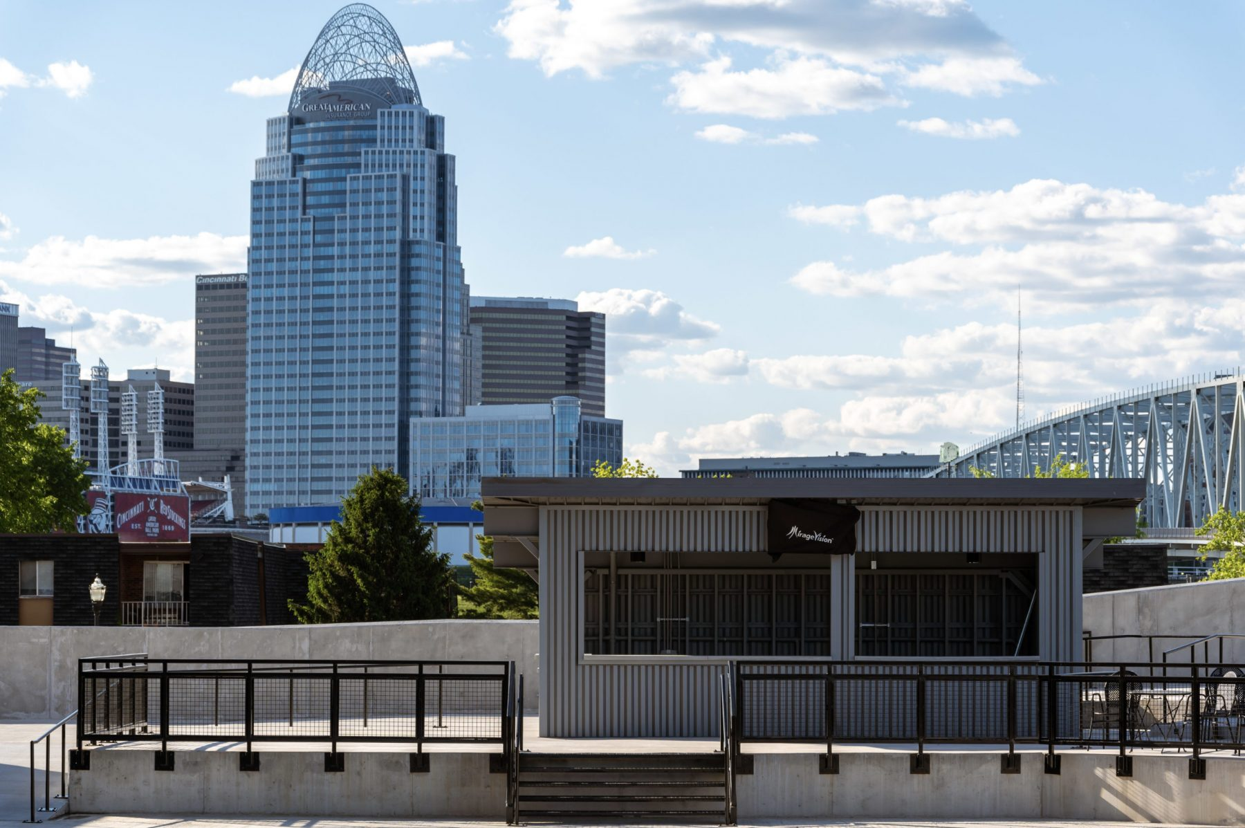 Downtown Cincinnati can be admired from the outdoor ampitheater. Photo by Phil Armstrong.
