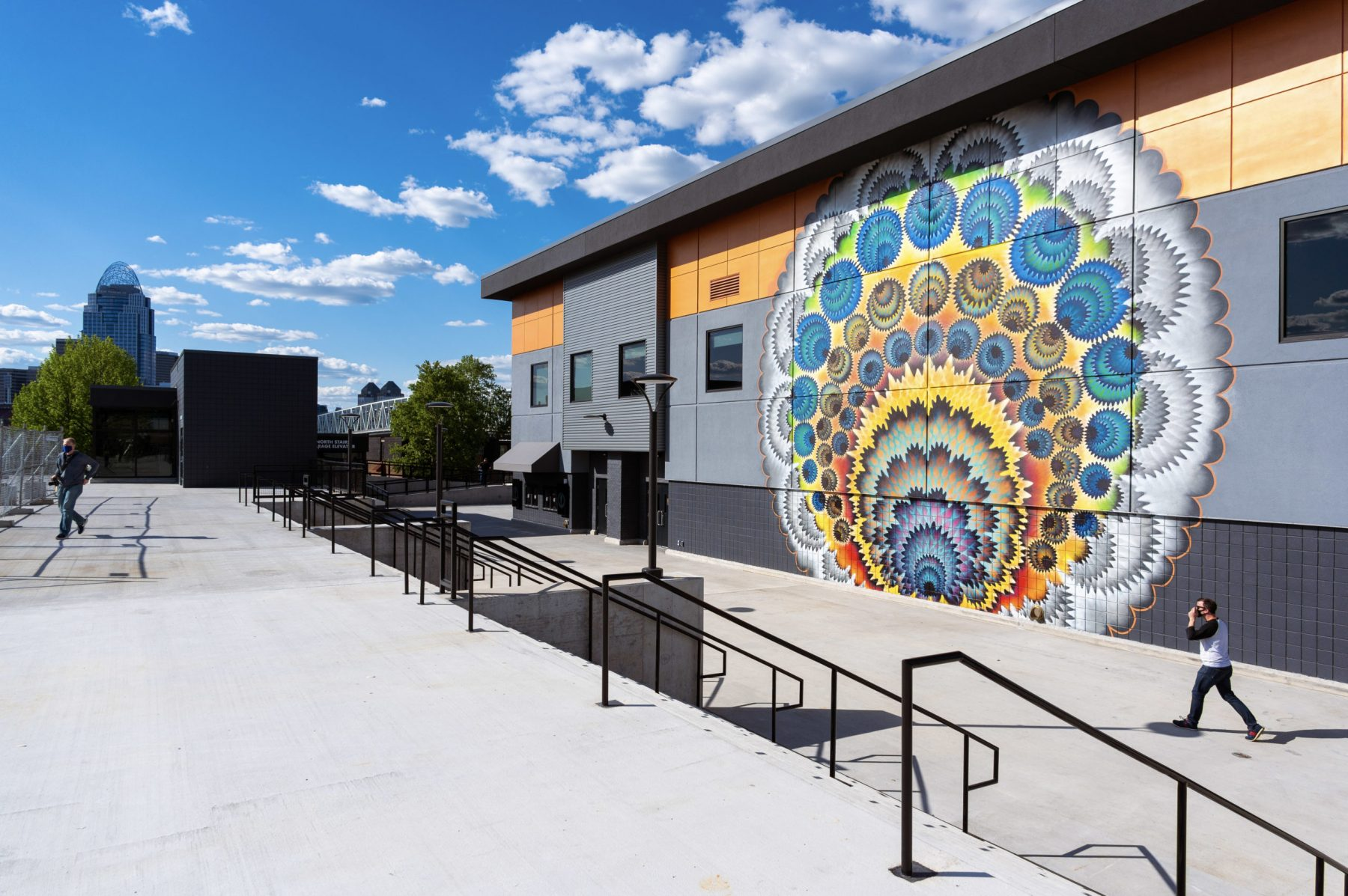 The west-facing side of the building features a brilliant mural. Photo by Phil Armstrong.