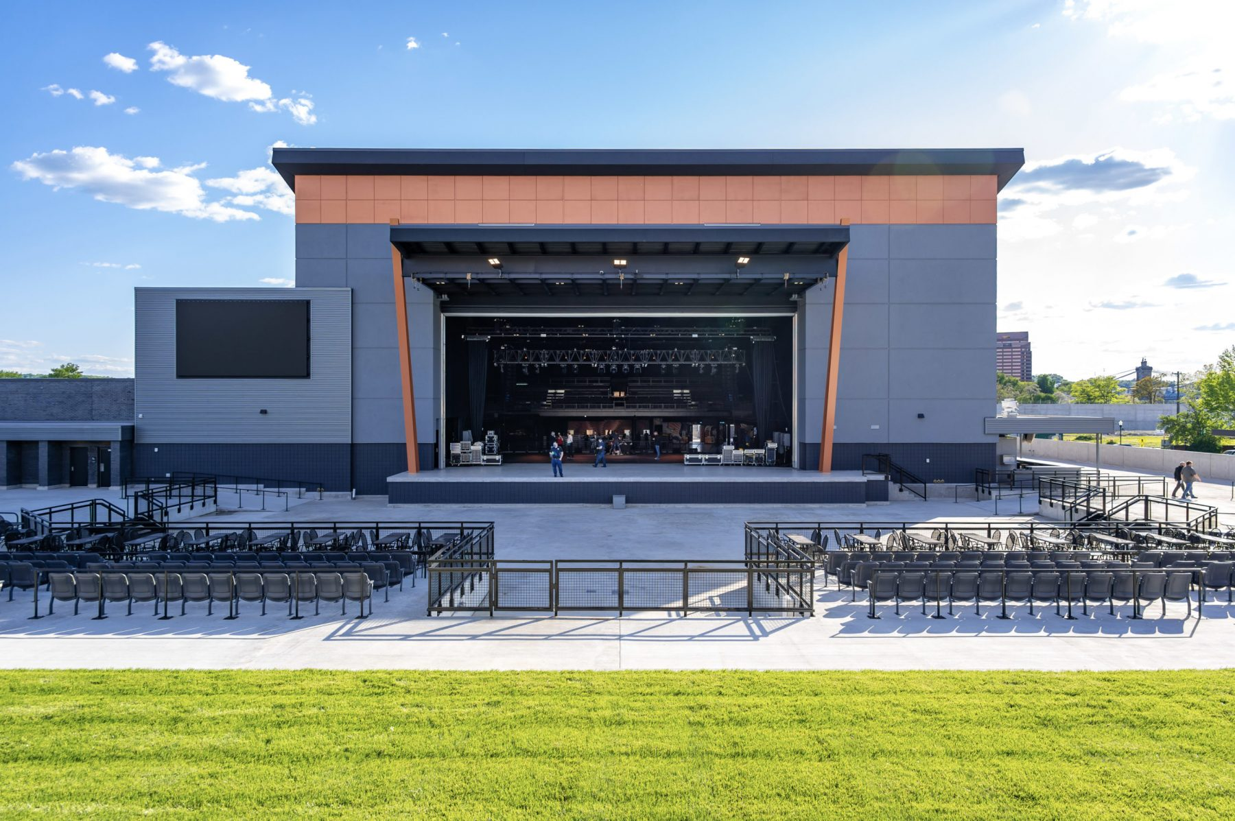 When the retractable wall is raised, fans will be able to see through to the inside of the venue. Photo by Phil Armstrong.