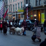Schnitzel escorting the first keg of bock beer