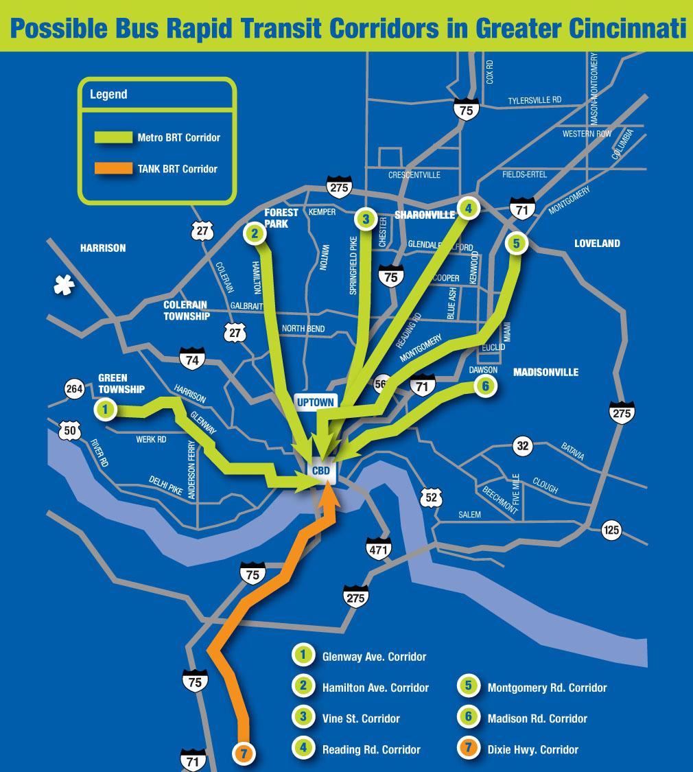 Potential Cincinnati BRT Corridors