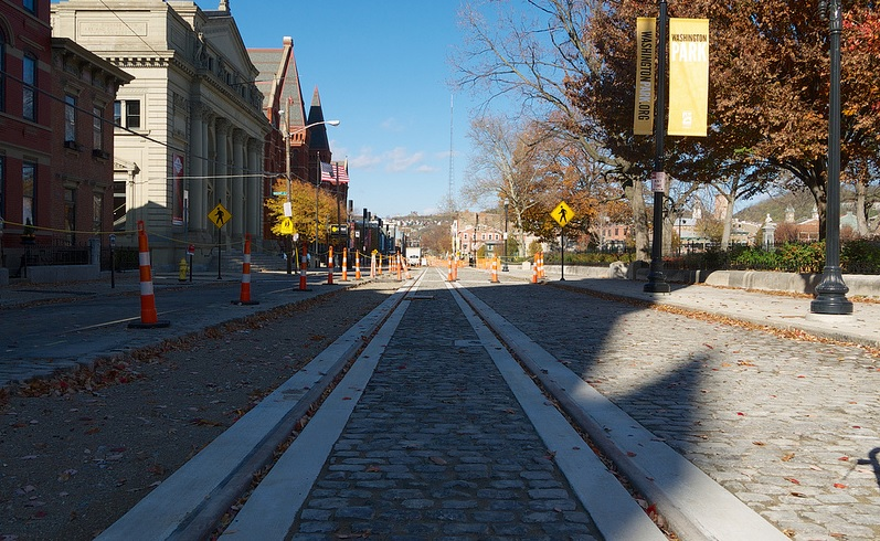 Cincinnati Light Rail Tracks on Elm Street