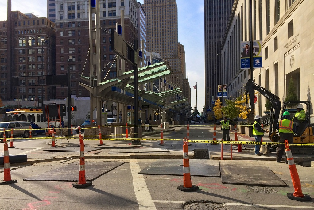 Cincinnati Streetcar Construction Work at Government Square