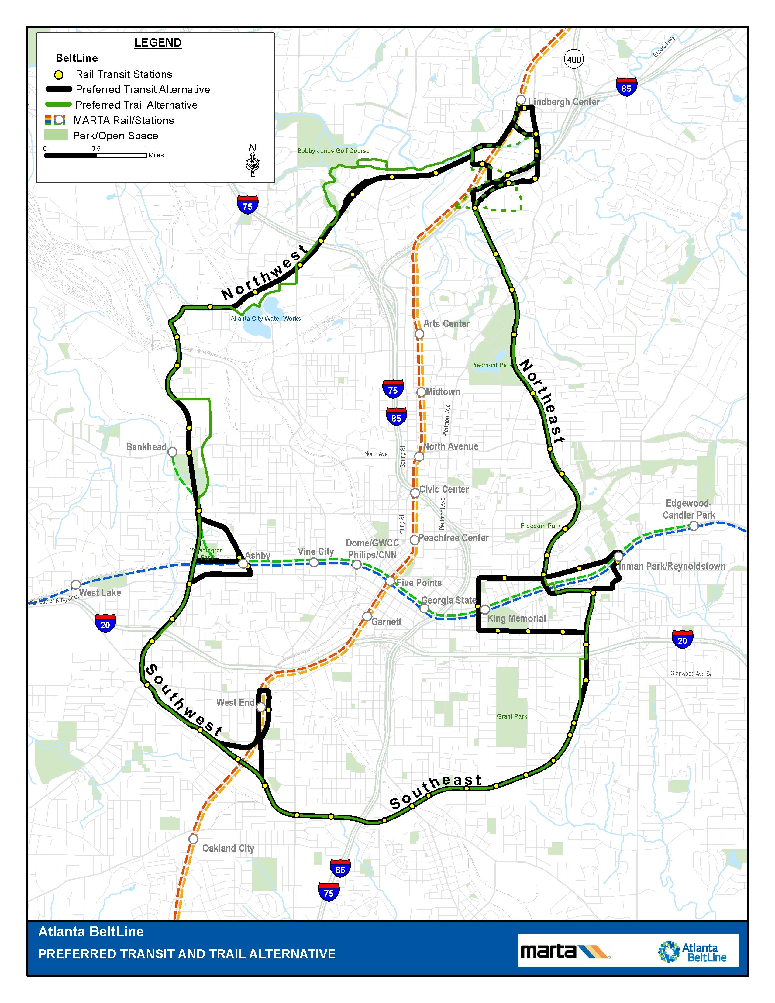 The Beltline Atlanta Map.Atlanta Beltline Transit Map Urbancincy