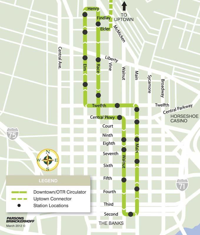 Cincinnati Streetcar Phase 1 Route