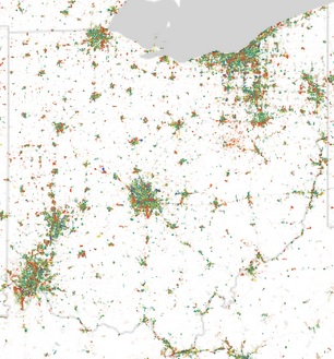 Ohio Employment Dot Map