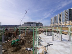 The parking garage that will support Phase 3 of The Banks is now under construction.